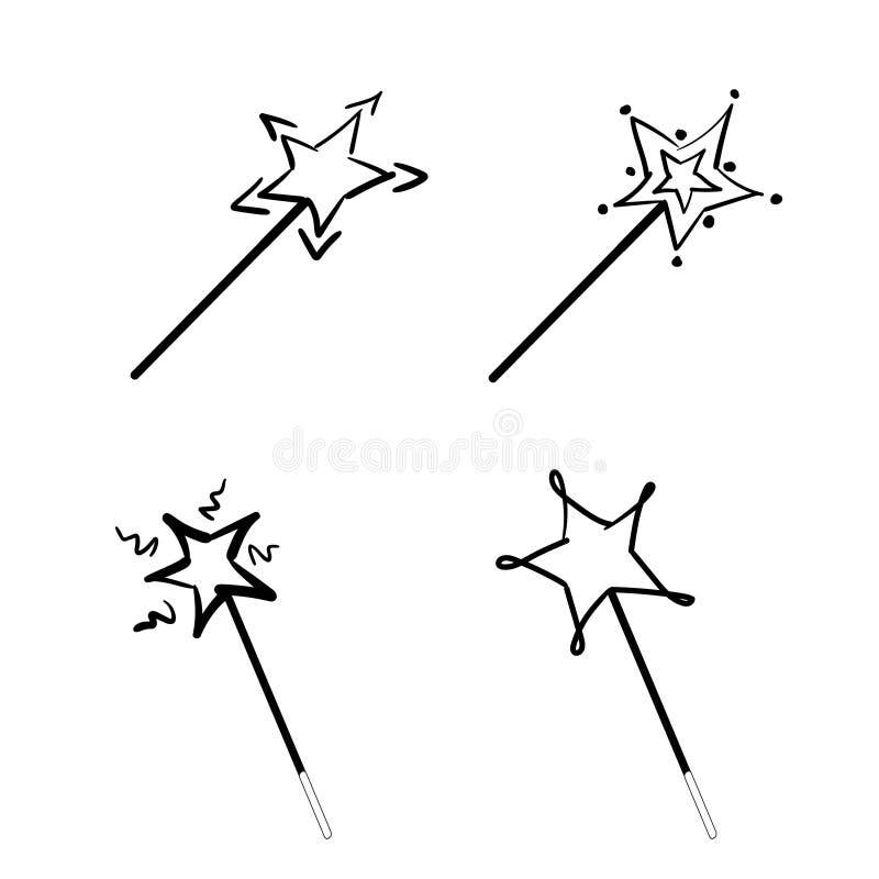 Ställ in av svarta trollspön med stjärnasymbolsvektorn, den magiska pinnelogoen, sagatecknet, mirakelsymbol royaltyfri illustrationer