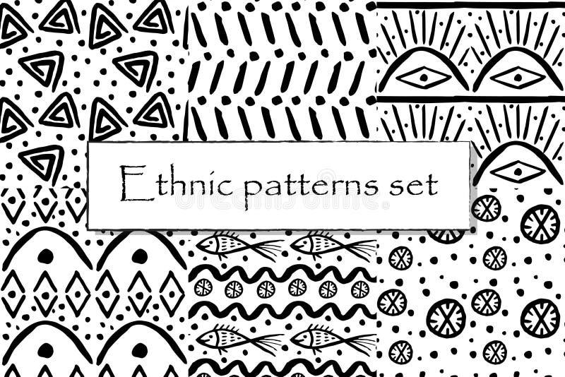 Ställ in av svartvit etnisk modell stock illustrationer
