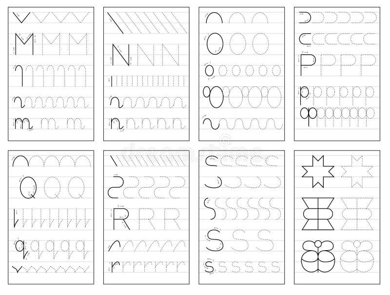 Ställ in av svartvita bildande sidor på linjen för ungar bokar Spåra alfabetbokstäver från M till S stock illustrationer