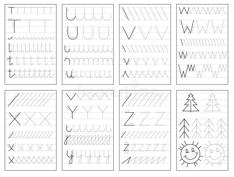 Ställ in av svartvita bildande sidor på linjen för ungar bokar Spåra alfabetbokstäver från T till Z stock illustrationer