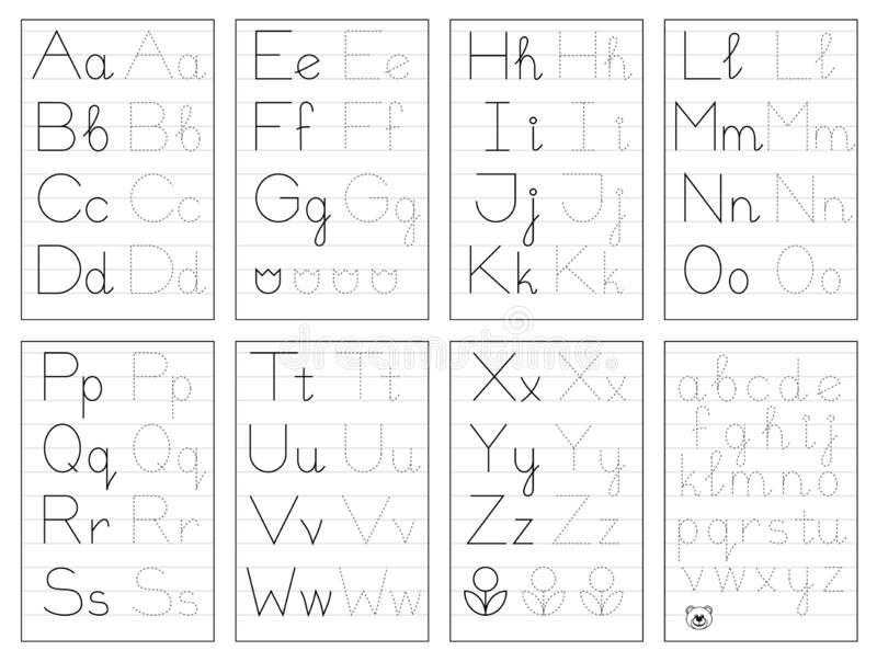 Ställ in av svartvita bildande sidor på linjen för ungar Spåra alfabetbokstäver Tryckbar arbetssedel f?r barnl?robok vektor illustrationer