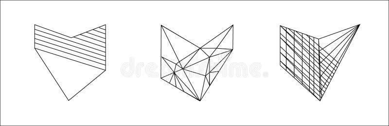 Ställ in av svartvita hjärtor som isoleras på vit bakgrund vektor royaltyfri illustrationer