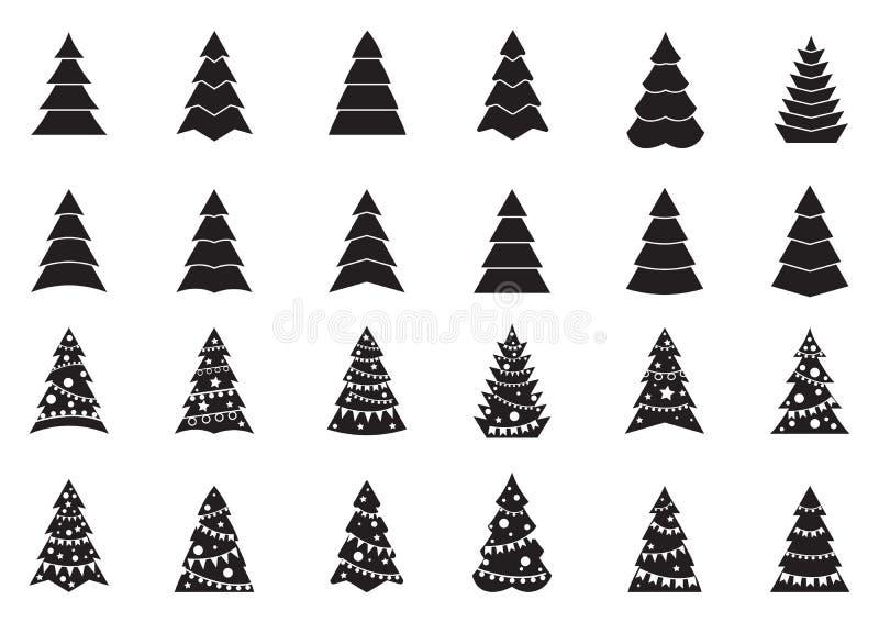 Ställ in av svartvita julgransymboler vektor illustrationer