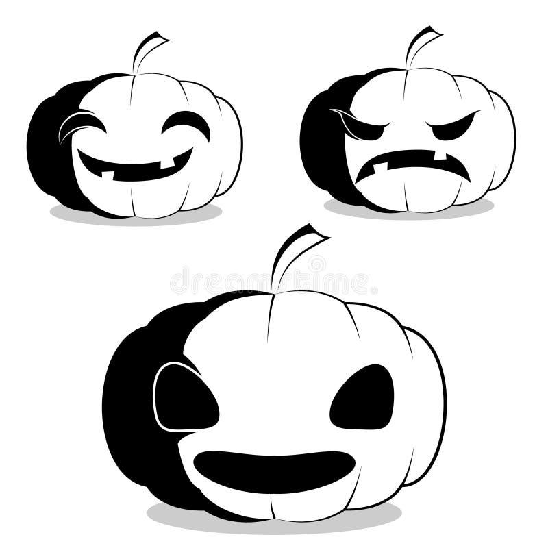 Ställ in av svartvita pumpor för tecknad filmstil med olika framsidor royaltyfri illustrationer