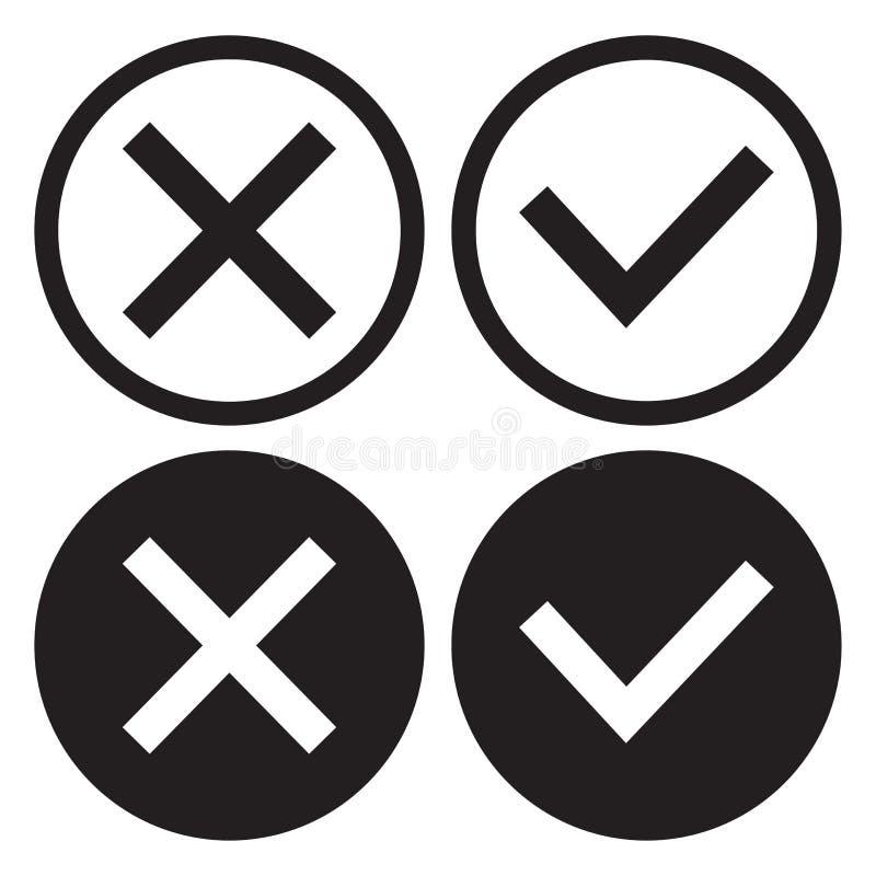Ställ in av svartvita symbolsknappar, översikt och plan design Bekr?ftelse och kassering den ingen bilden f?r begreppet 3d framf? stock illustrationer