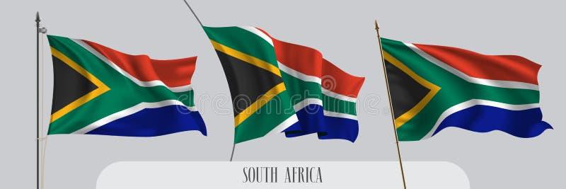 Ställ in av Sydafrika den vinkande flaggan på isolerad bakgrundsvektorillustration royaltyfri illustrationer