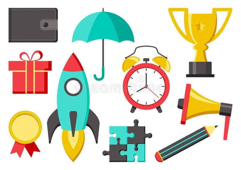 Ställ in av symboler för affär eller utbildning Plånbok paraply, kopp, medalj, raket, blyertspenna, megafon, ringklocka, pussel,  vektor illustrationer