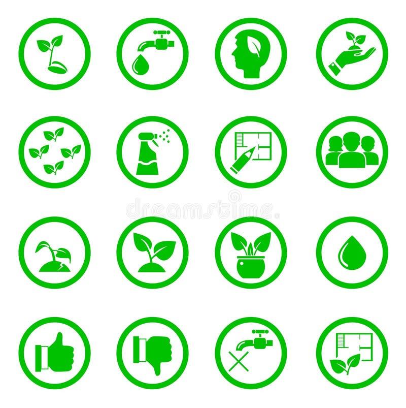 Ställ in av symboler för gröna växter i cirklar vektor illustrationer