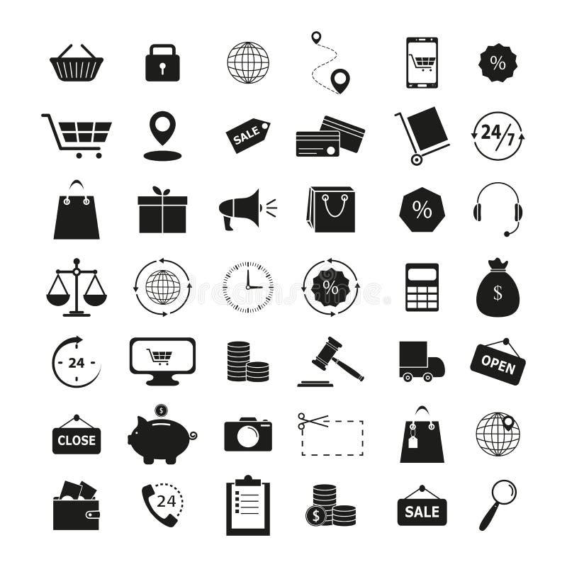 Ställ in av symboler för shopping 42 finansaffären vektor illustrationer