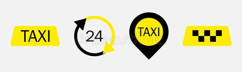 Ställ in av symboler för taxiservicevektor Taxitecken Taxiöversiktspekare och 24/7 timmar stock illustrationer