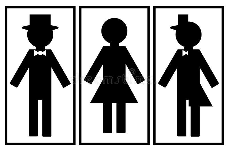 Ställ in av symboler för toalett, och badrummet av olikt könsbestämmer, den offentliga toaletten för män och kvinnor stock illustrationer