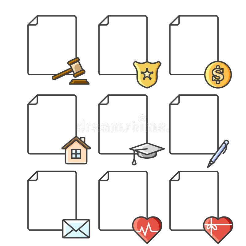 Ställ in av symboler för tomma dokument för olika service, institutioner och strukturer Färgvektorillustration på ett vitt vektor illustrationer