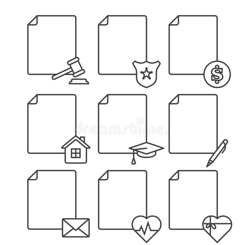 Ställ in av symboler för tomma dokument för olika service, institutioner och strukturer Vektor på vit bakgrund Alternativ 1 royaltyfri illustrationer