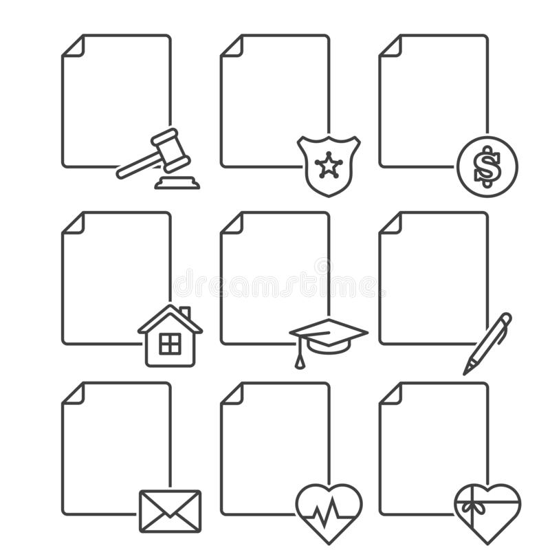 Ställ in av symboler för tomma dokument för olika service, institutioner och strukturer Vektor på vit bakgrund Alternativ 2 royaltyfri illustrationer