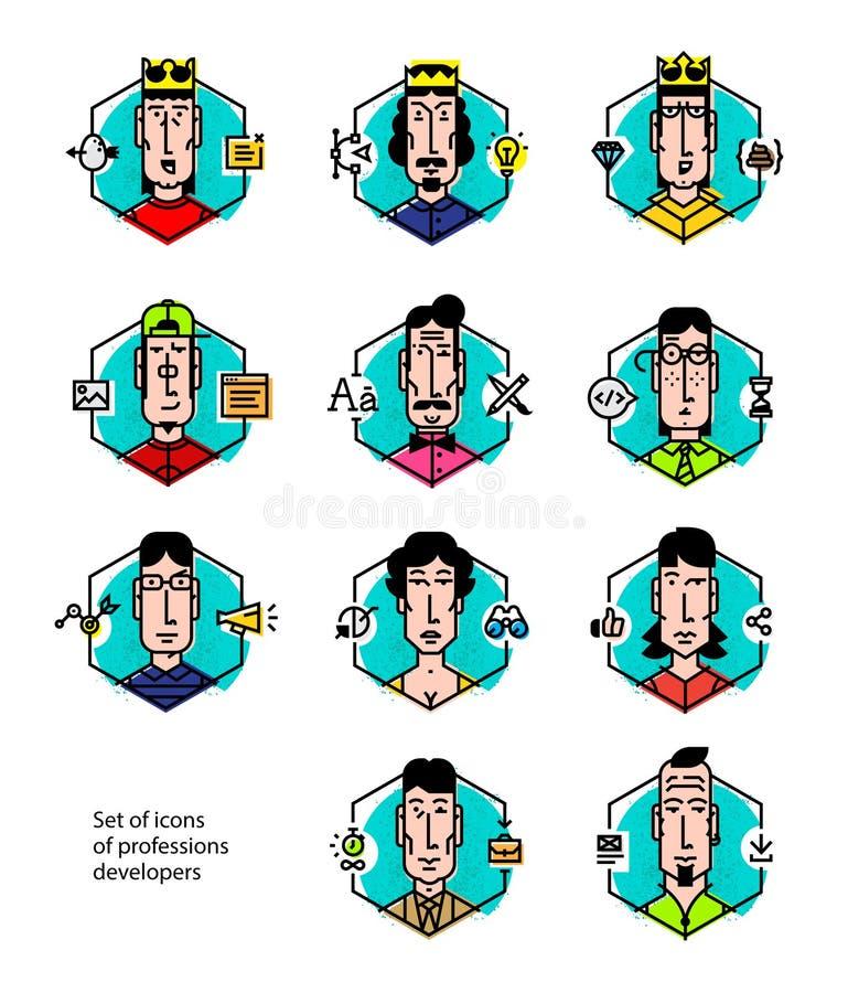 Ställ in av symboler av folkets yrken Symboler som isoleras på vitbakgrund Konturstående av symboler för kontorsarbetare Vecto vektor illustrationer