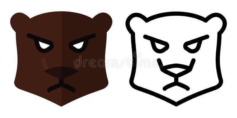 Ställ in av symboler - logoer i linjär och plan stil Bj?rnhuvud ocks? vektor f?r coreldrawillustration stock illustrationer