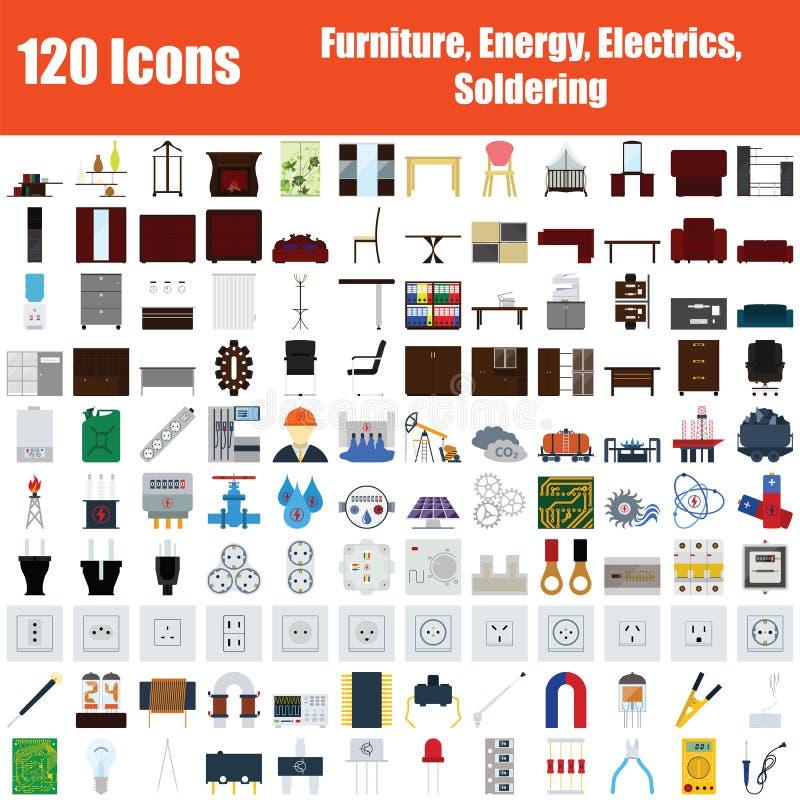 Ställ in av 120 symboler royaltyfri illustrationer