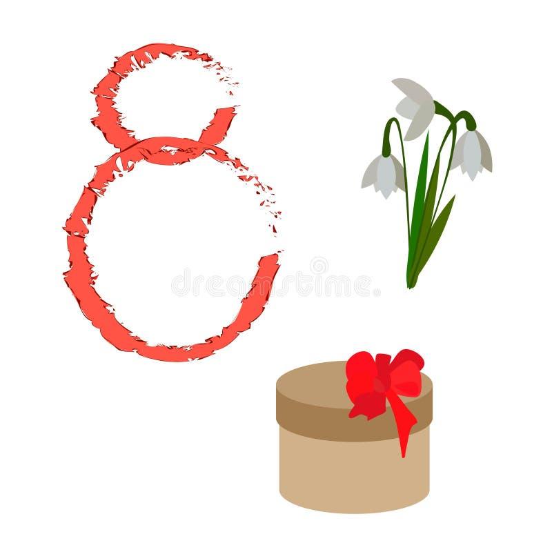Ställ in av symboler och tecken för designen av kort på kvinnors för mars 8 dag stock illustrationer