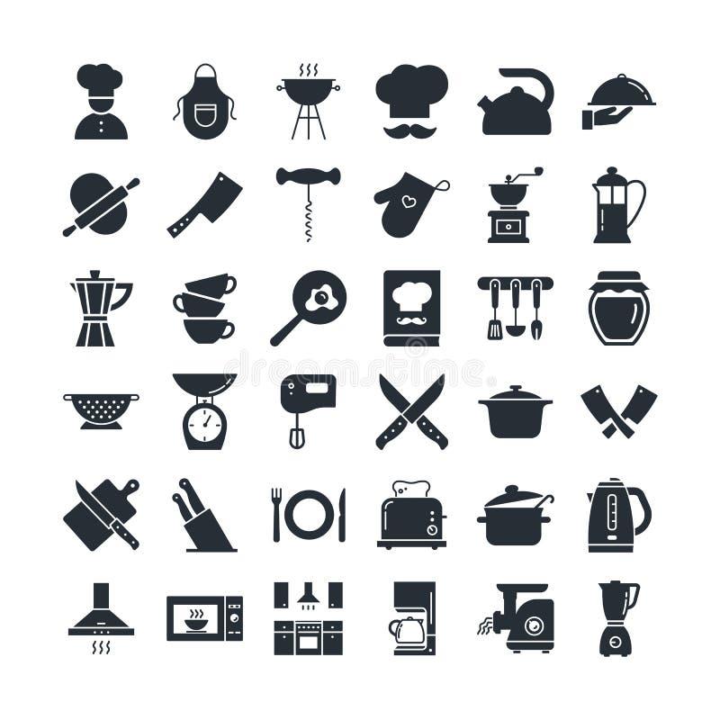 Ställ in av symboler på köktemat, kökhjälpmedlen, logoerna och bokstäver royaltyfri illustrationer