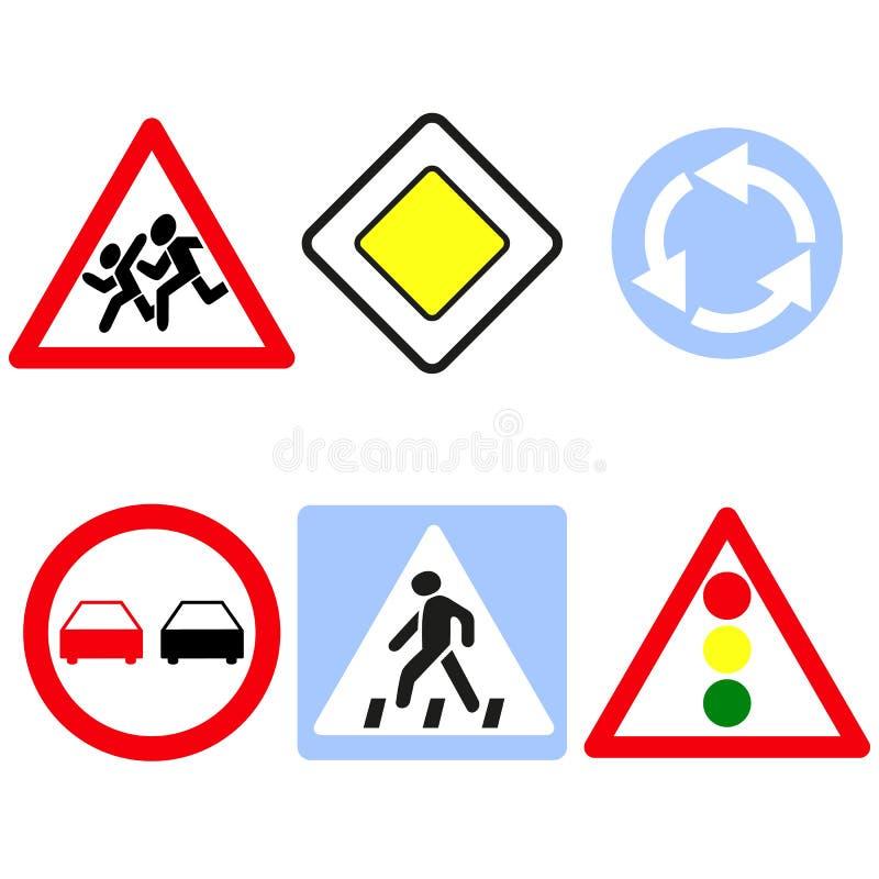 Ställ in av symbolerna för huvudvägtecken stock illustrationer