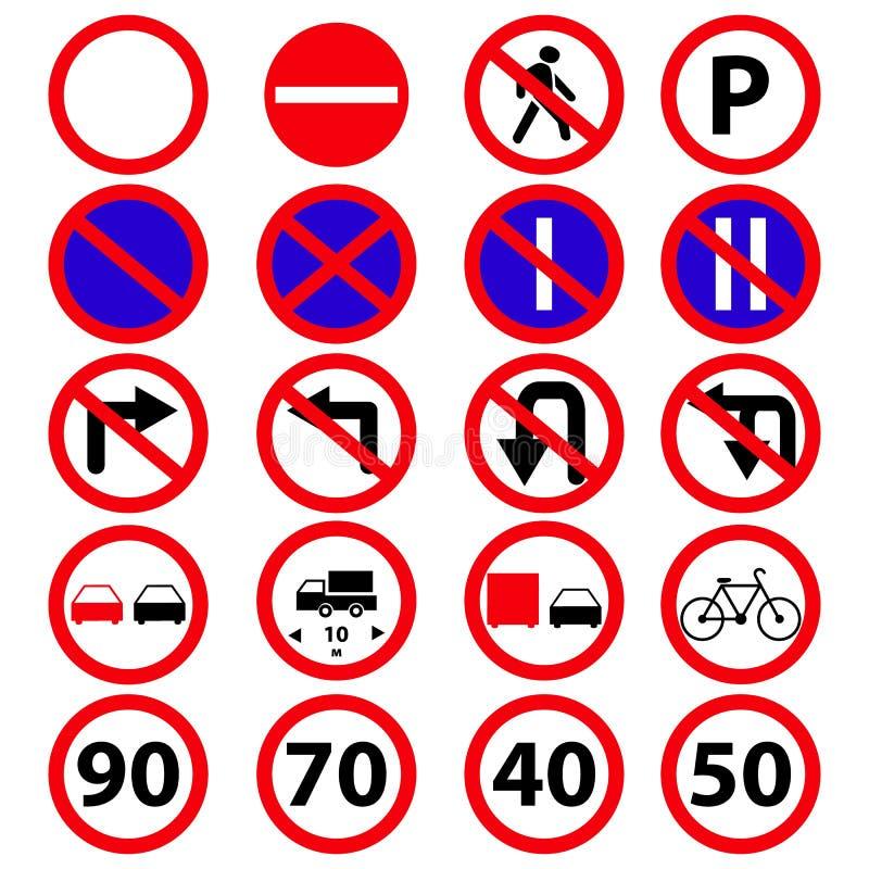 Ställ in av symbolerna för vägförbudtecken vektor illustrationer