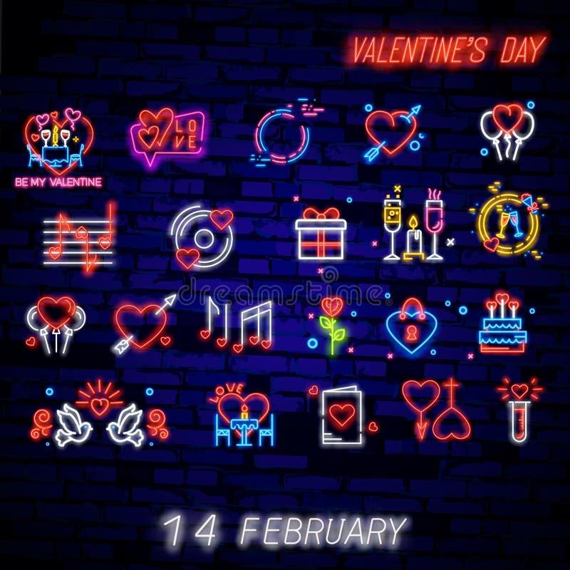 Ställ in av symbolet för dag för valentin s Neontecken, ljust baner, nattwhiteboard Annonsera för dag för valentin s, designmall stock illustrationer
