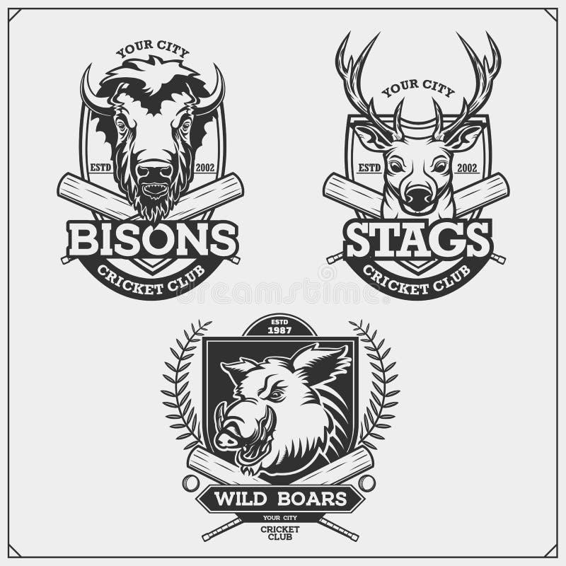Ställ in av syrsaemblem, emblem, logoer och etiketter med hjortar, bisonen, älgen och vildsvinet Tryckdesign f?r t-skjortor stock illustrationer