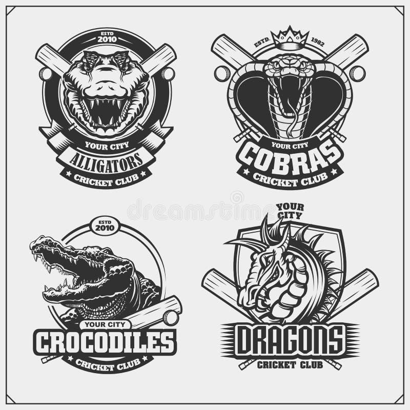 Ställ in av syrsaemblem, emblem, logoer och etiketter med kobran, krokodilen och draken royaltyfri illustrationer