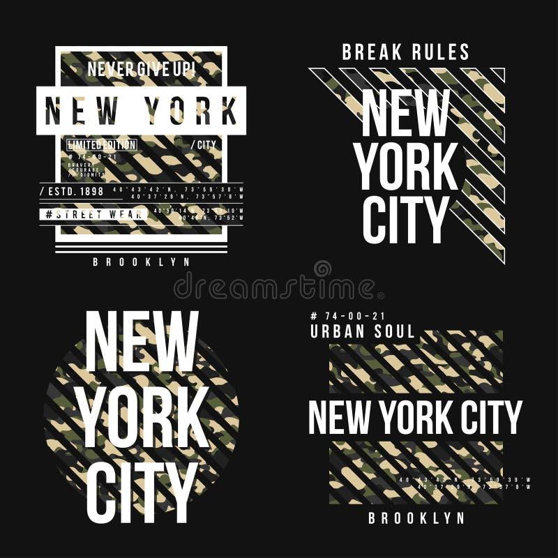 Ställ in av t-skjorta design i militär arméstil med kamouflagetextur New York City typografi med slogan stock illustrationer