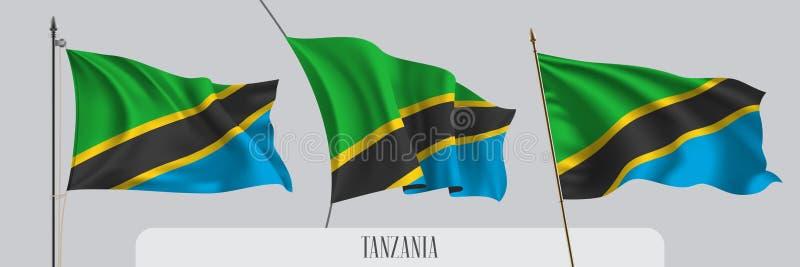 Ställ in av Tanzania den vinkande flaggan på isolerad bakgrundsvektorillustration vektor illustrationer