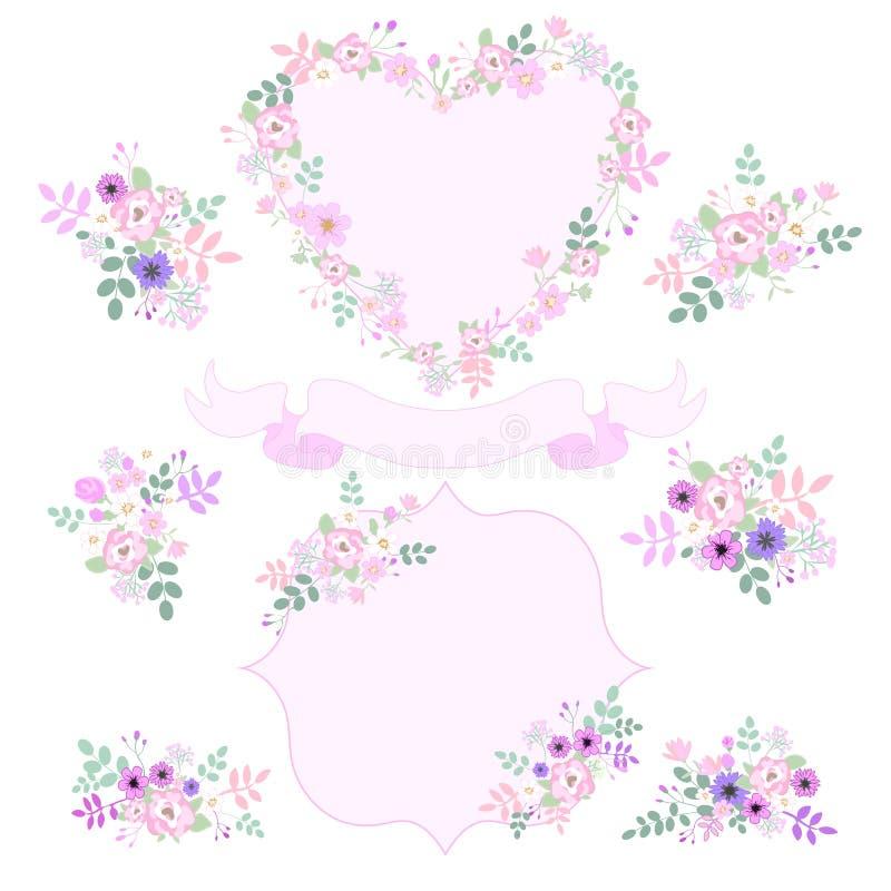 Ställ in av tappning rosa och purpurfärgade blommor som isoleras på vit bakgrund Mall för bröllopkortet, inbjudningar hjärtaform, royaltyfri illustrationer