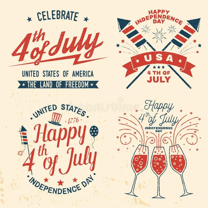 Ställ in av tappning 4th av den juli designen Fj?rdedel av vykortet f?r Juli gratulationklassiker Sj?lvst?ndighetsdagenh?lsningko royaltyfri illustrationer