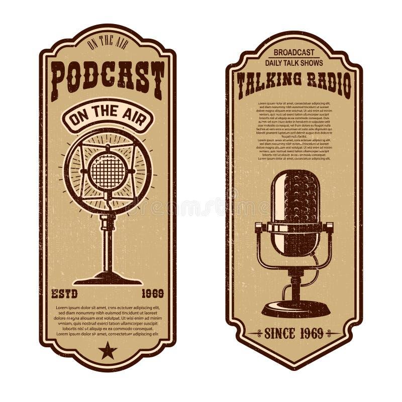 Ställ in av tappningpodcasten, radioreklamblad med mikrofonen Designbeståndsdel för logoen, etikett, tecken, emblem, affisch vektor illustrationer