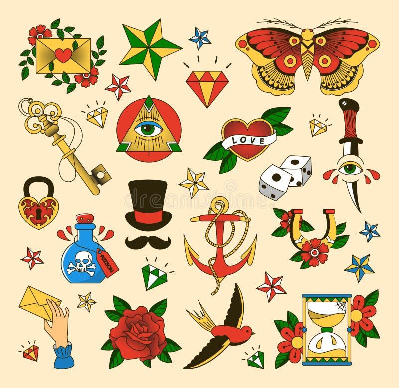 Ställ in av tatuering i stil för gammal skola vektor illustrationer
