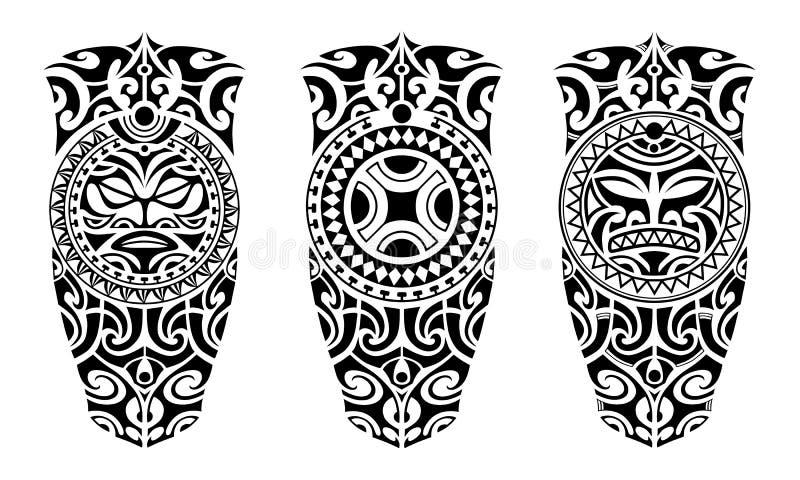 Ställ in av tatuering skissar maori stil royaltyfri illustrationer