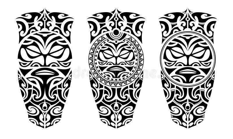 Ställ in av tatuering skissar maori stil vektor illustrationer