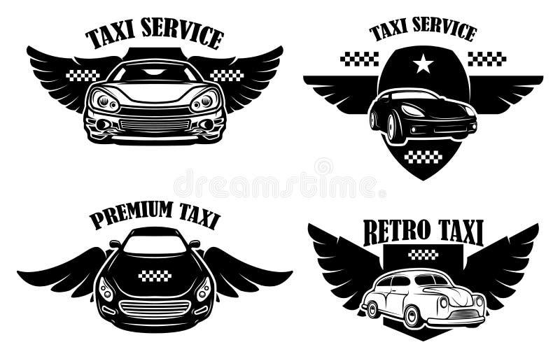 Ställ in av taxiserviceemblem Tecken med bevingade taxibilar Designbeståndsdel för logoen, etikett, tecken, affisch royaltyfri illustrationer