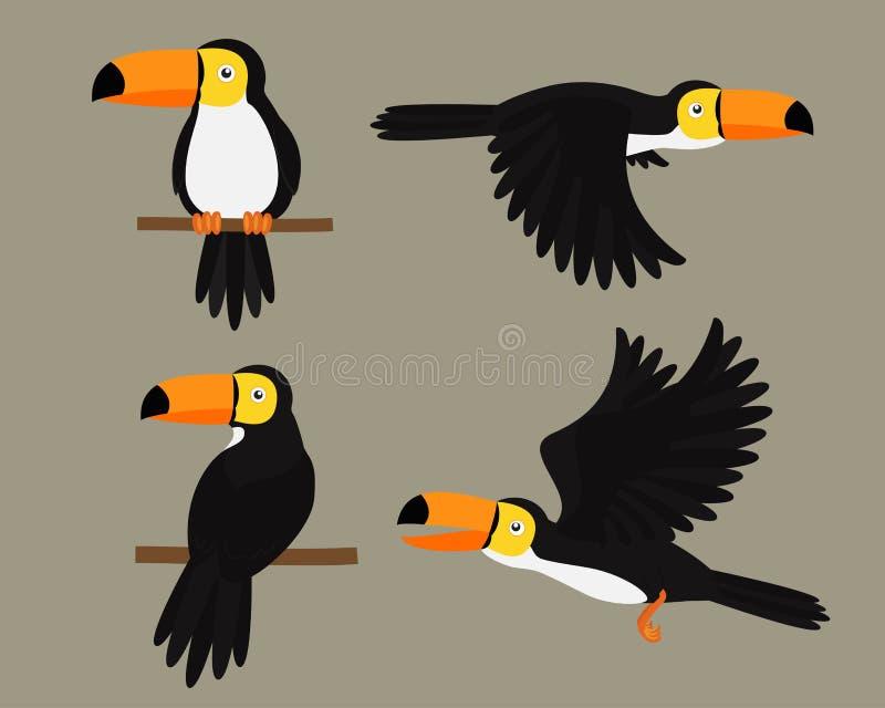 Ställ in av tecknad film för tukanfågeltecken royaltyfri illustrationer