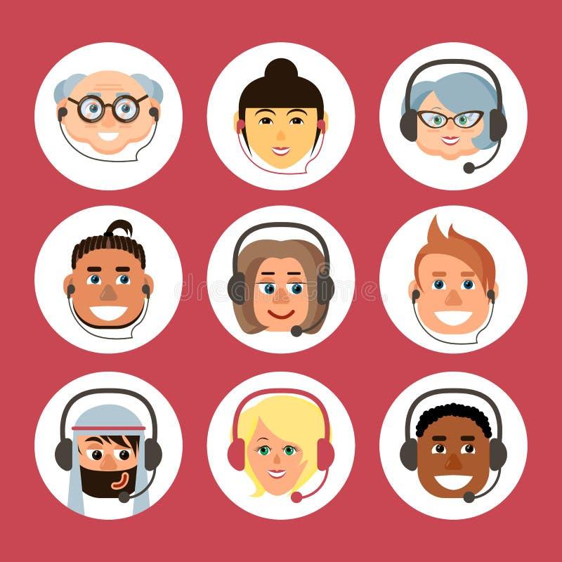 Ställ in av tecknad filmavatars av män och kvinnor av olika nationaliteter och åldrar med en hörlurar med mikrofon royaltyfri illustrationer