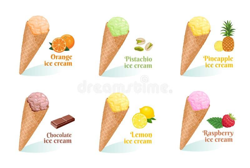 Ställ in av tecknad filmglass av olika smaker i dillandekotte stock illustrationer