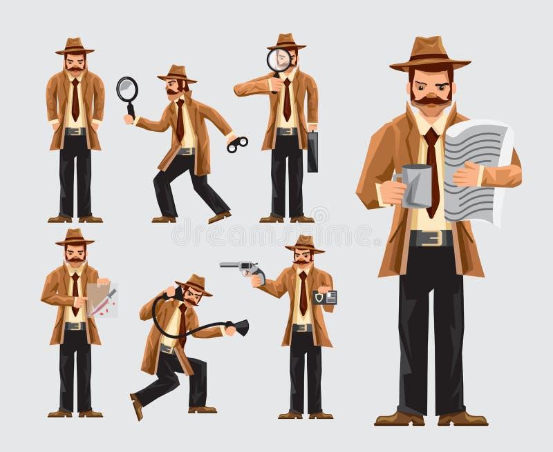 Ställ in av tecknad filmkriminalare i handling stock illustrationer