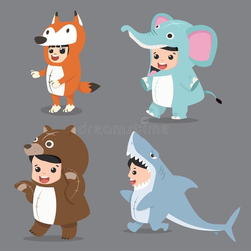 Ställ in av tecknad filmungetecken i djurdräkter vektor illustrationer