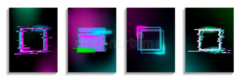 Ställ in av tekniskt felfyrkanter med neoneffekt Design för kort, inbjudningar, räkningar, baner, reklamblad, affischer stock illustrationer