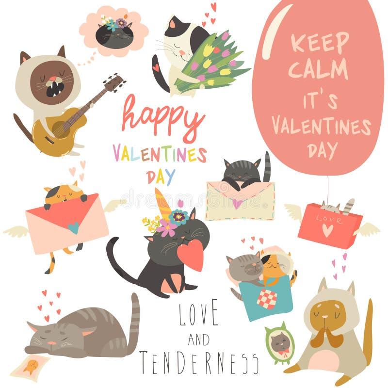 Ställ in av tema för katter för vektortecknad filmtecken förälskat royaltyfri illustrationer