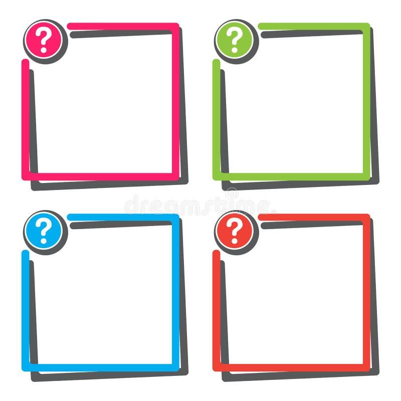 Ställ in av textasken med knappen för frågefläcken ocks? vektor f?r coreldrawillustration vektor illustrationer