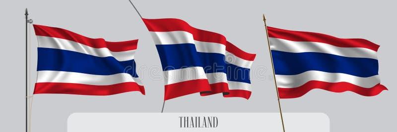 Ställ in av Thailand den vinkande flaggan på isolerad bakgrundsvektorillustration vektor illustrationer