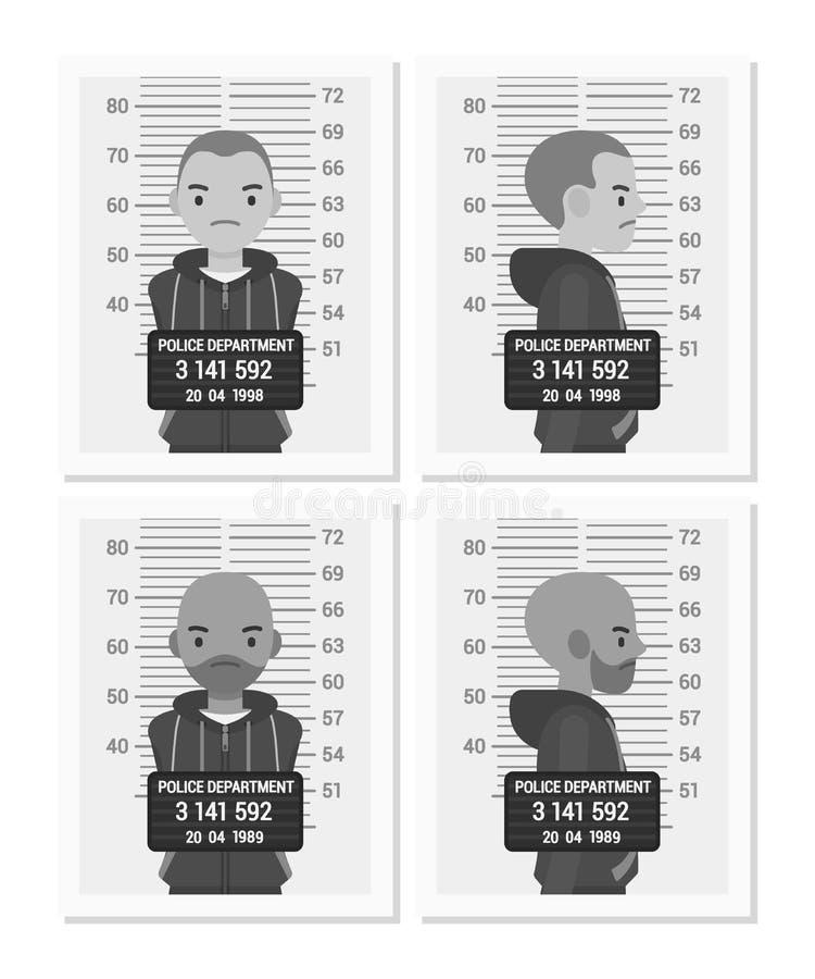 Ställ in av tillbaka och vita manliga mugshots stock illustrationer