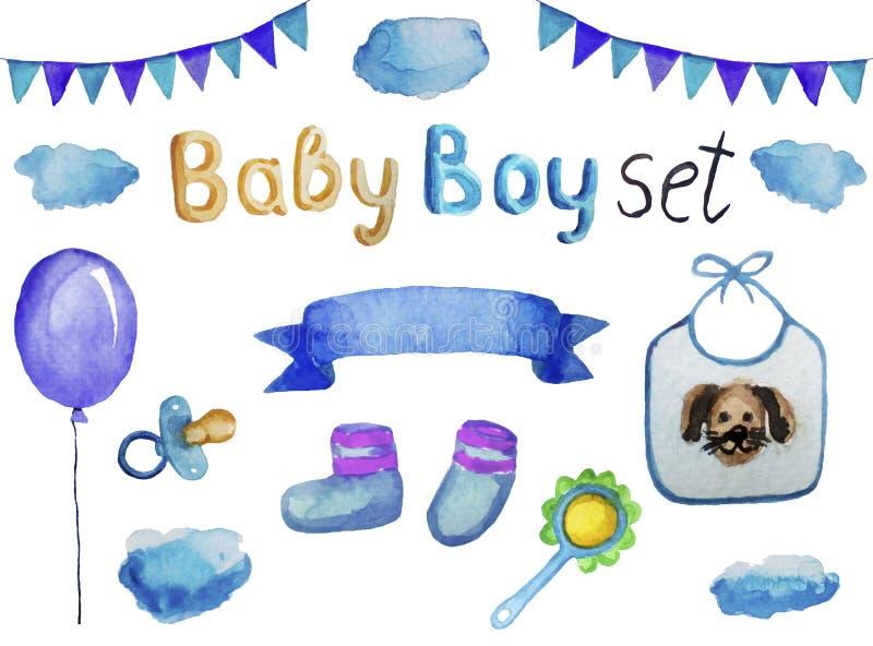 Ställ in av tillbehör och objekt för en nyfödd pojke, den isolerade vattenfärgillustrationen royaltyfri illustrationer