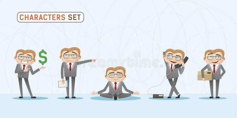 Ställ in av tillfälliga sinnesrörelser och uttryck av affärsmannen i regeringsställning Tillfälligt kontorsblicktecken royaltyfri illustrationer