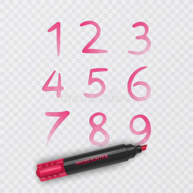 Ställ in av tio nummer från noll till nio, nummer som dras med den röda markören, vektorillustration vektor illustrationer
